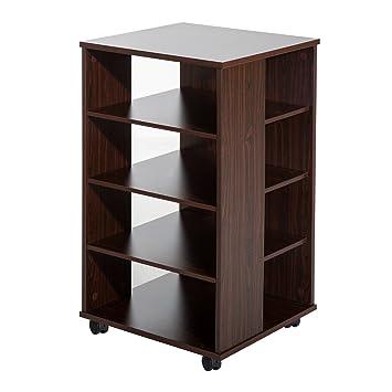 Homcom - Carro de oficina soporte para impresora/medios de comunicación, 5 estantes armario w/ruedas: Amazon.es: Oficina y papelería