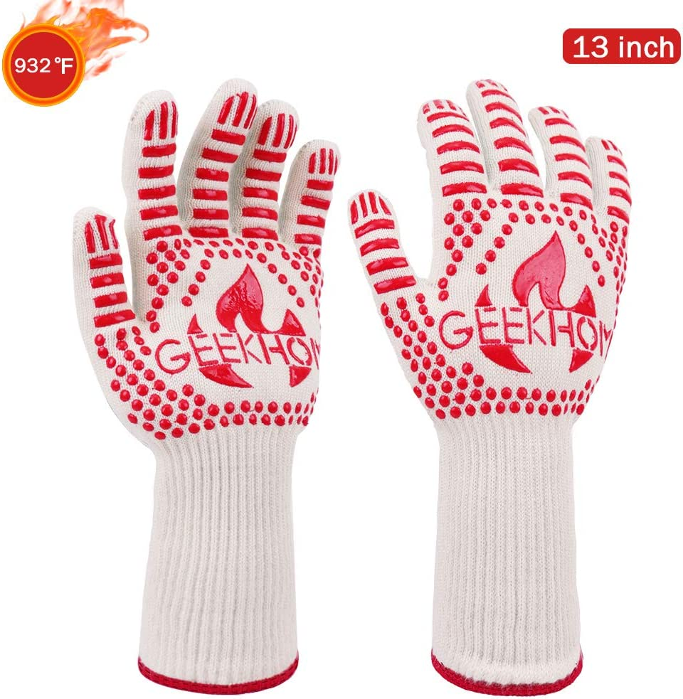 GEEKHOM Oven Gloves,1472℉ Extreme Heat Resistant EN407 Certified Grill Gloves, 13 Inch Flexible Kevlar Cooking Gloves for BBQ, Barbecue, Grilling, Baking, Red