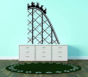 Top Selling Decals - Prices Reduced : Vinyl Wall Sticker : Roller Coaster Amusement Park Ride Kids Bedroom Bathroom Living Room Picture Art Peel & Stick Mural - Size: : 20 X 16 Inch