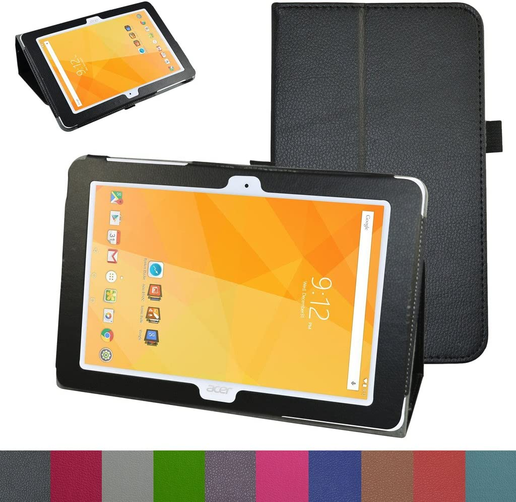 "Acer Iconia One 10 B3-A20 Case,Mama Mouth PU Leather Folio 2-Folding Stand Cover with Stylus Holder for 10.1"" Acer Iconia One 10 B3-A20 Android Tablet,Black"