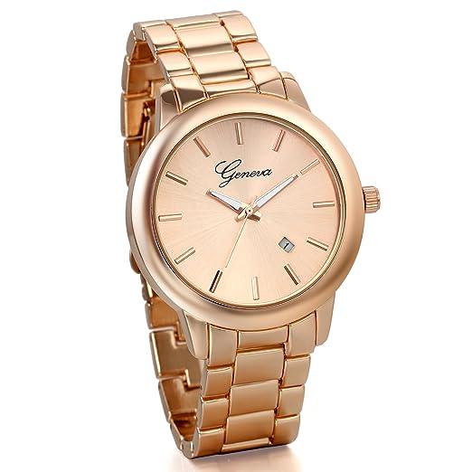 JewelryWe Relojes Hombre Mujer, Acero Inoxidable Cuarzo, Unisex Reloj Vintage, Estilo Clásico Casual, Color Oro Rosa, Buen Regalo: Amazon.es: Relojes