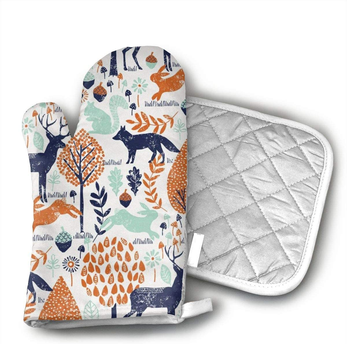 HGUIDHG DVIKH Navy and Orange Woodland Animals Oven Mitts+Insulated Square Mat,Heat Resistant Kitchen Gloves Soft Insulated Deep Pockets, Non-Slip Handles