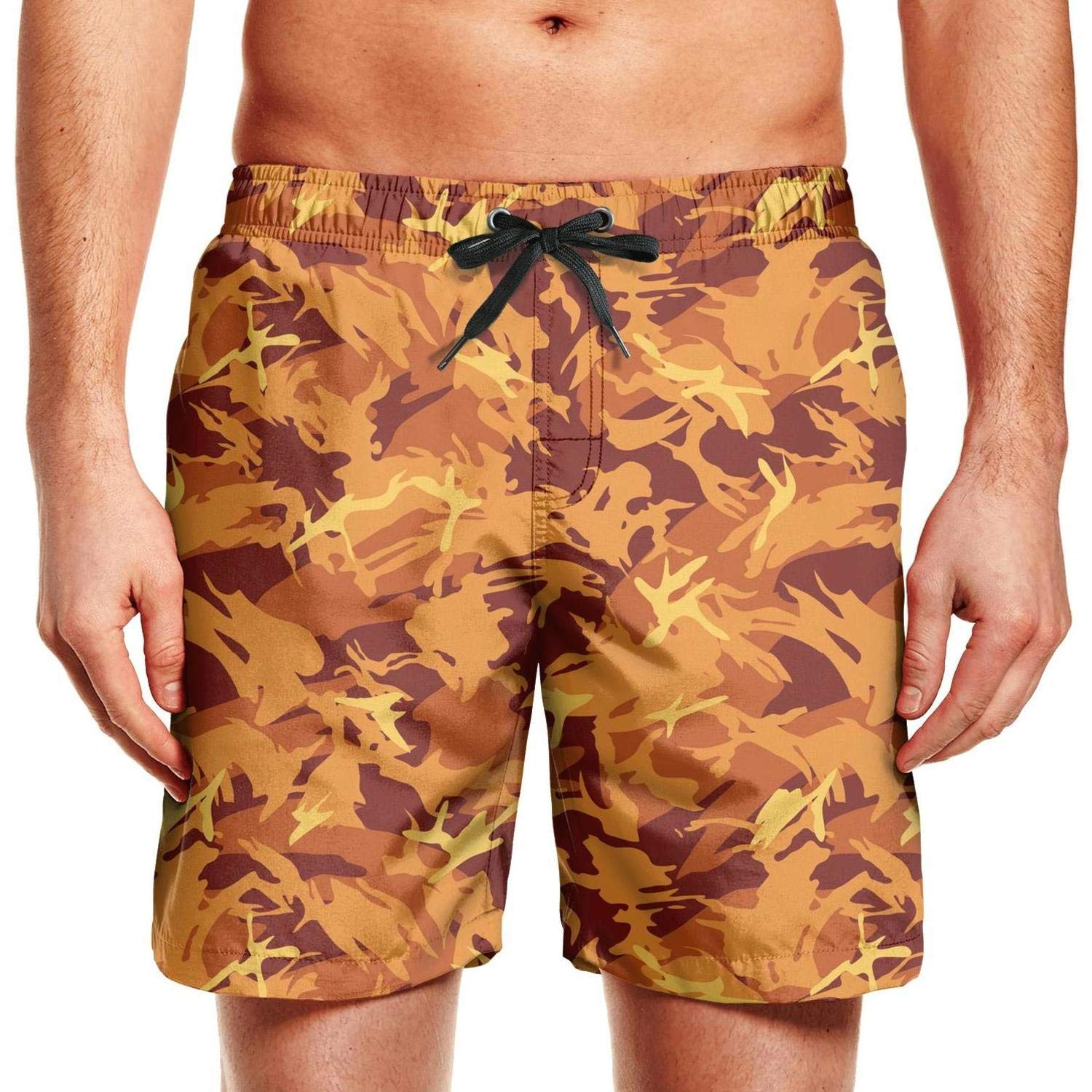 FPPING Mens Green Butterfly Leafy Camo Fashion Swimming Beach Swim Trunk