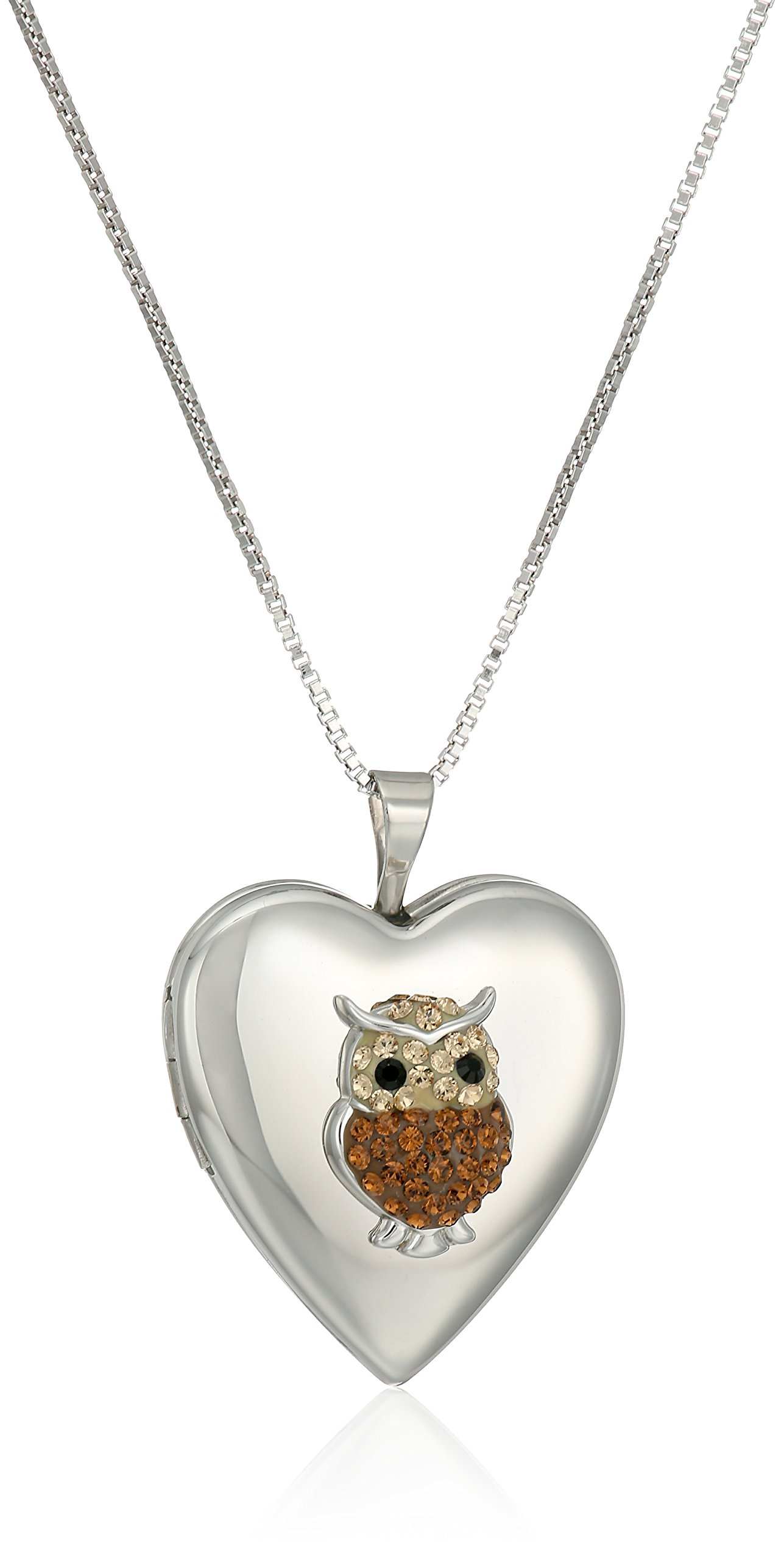 Sterling Silver Heart Crystal Owl with Swarovski Elements Locket Necklace, 18''