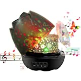 Nasus Music Night Light Projector, Newest Animal Forest Patterns Musical Rotating Baby Projection Bedroom Mood Lamps with 12 Songs for Kids Children Gift