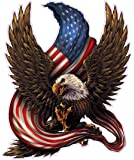 "American Bald Eagle American Flag Decal is 6.0"" in size from the United States"