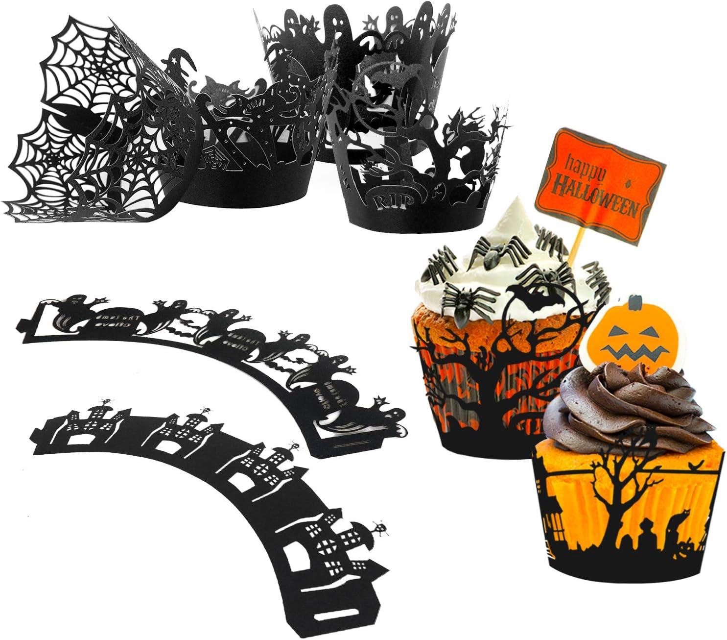 Weihnachten Party Tisch Dekoration f/ür Halloween ECHOAN 60 St/ück Papier-Backf/örmchen Hallowee Papier Spitze Cupcake Wrappers