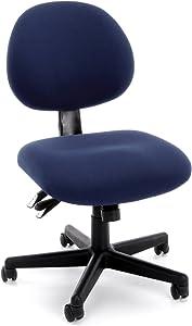 OFM 24-Hour Upholstered Multi-Adjustable Armless Task Chair, Blue