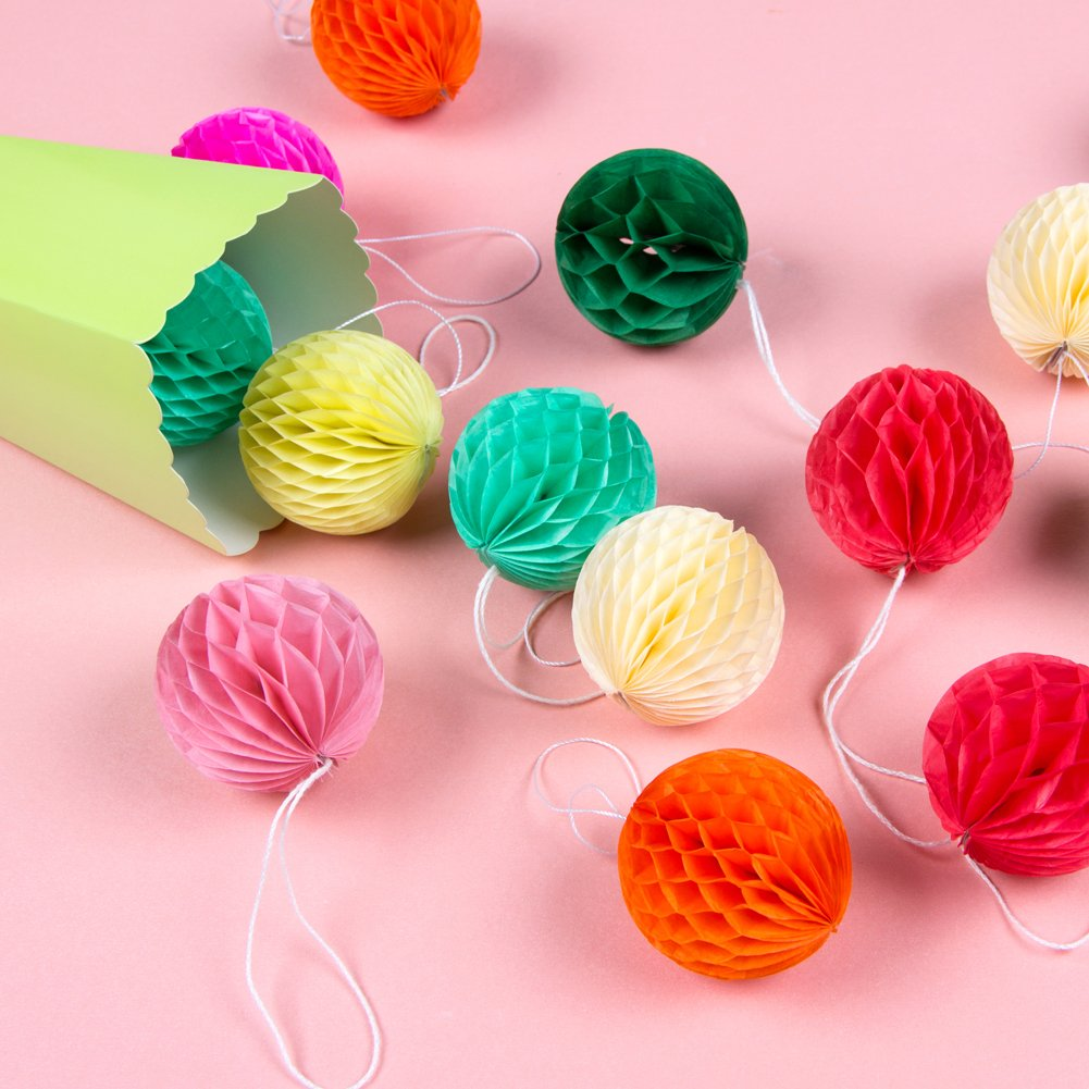 40 Pcs Mini Tissue Paper Honeycomb Balls for Birthday Wedding Baby Shower Party Decorations, Multicolor, 2 inches, Easy Joy