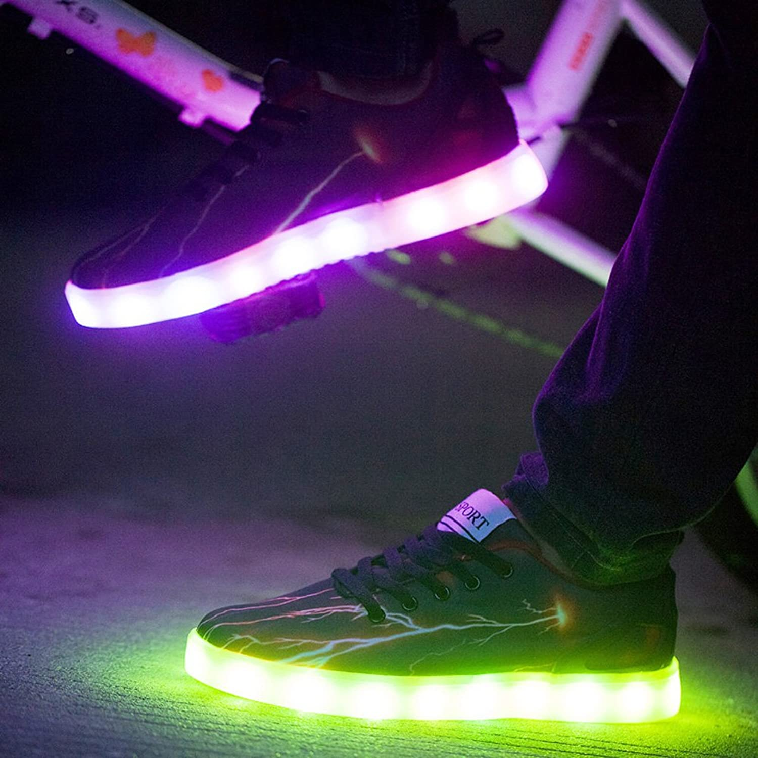 Amazon.com | Mens Women LED Light up Lightning Shoes Sportswear Sneaker Luminous Casual Shoes | Fashion Sneakers : lighting shoes for adults - azcodes.com