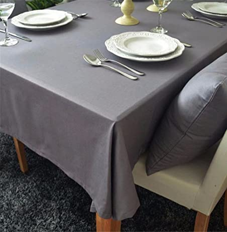 Goodhan Cotton Solid Color Grey Table Cloth Rectangle Tablecloth For Dining  Table Thick Table Cover