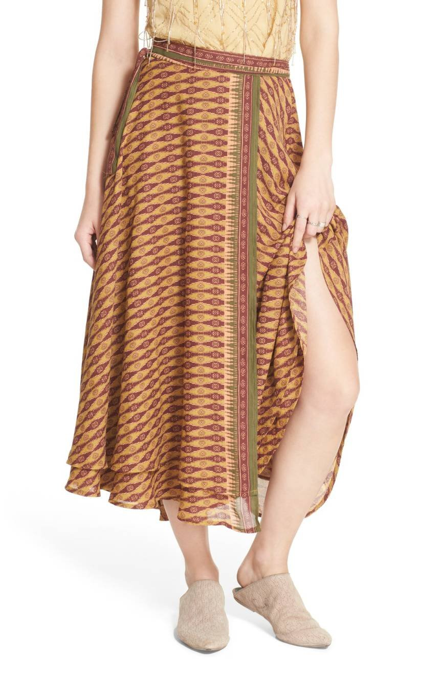 Free People Women's Good For You Printed Wrap Midi Skirt (Green Combo, 10)