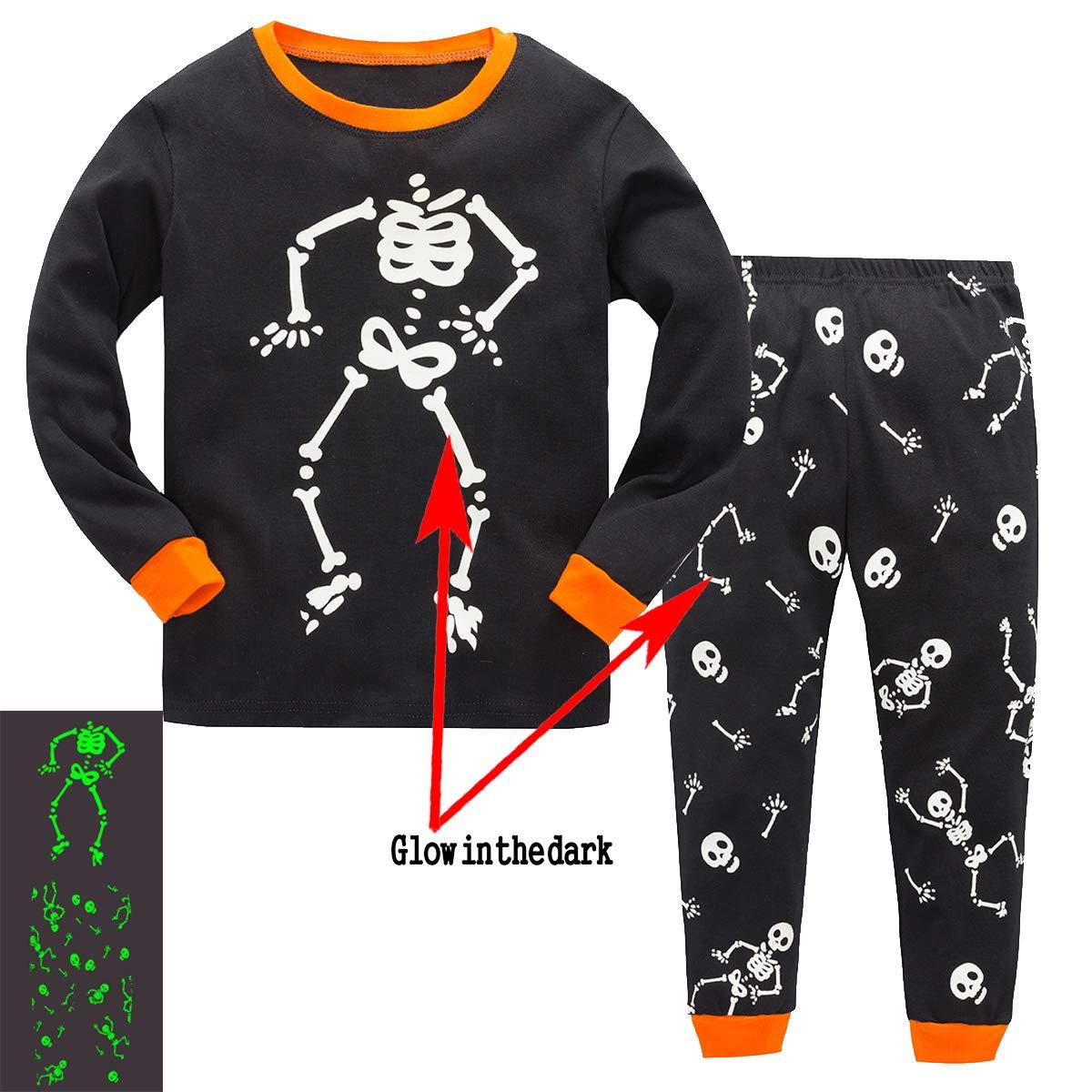 Toddler Boys Halloween Pajamas Skeleton Glow in The Dark Costumes Pjs