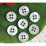 Lautechco 1000 Pcs Round 4holes White Shirt Button Transparent Resin Pearl Button Sewing/Scrapbooking Handmade Accessories (10MM)