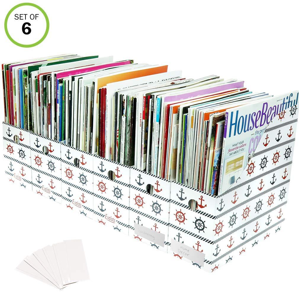 Evelots Set of 6 Magazine File Holders Desk Organizer, File Storage with Labels, Nautical
