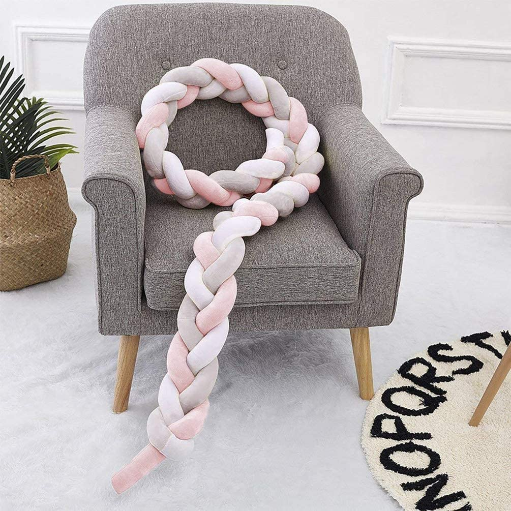 J-ouuo Baby Crib Bumper Soft Knot Pillow Decorative Baby Bedding Sheets Braided Crib Bumper Knot Pillow Cushion Cradle Bed Sleep Bumper