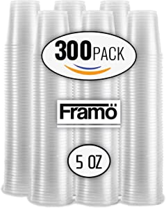 5 Oz Clear Plastic Cups by Fnamo, For Any Occasion, BPA-Free Disposable Transparent Ice Tea, Juice, Soda, and Coffee Glasses for Party, Picnic, BBQ, Travel, and Events, (300, clear) (CLEAR, 300)