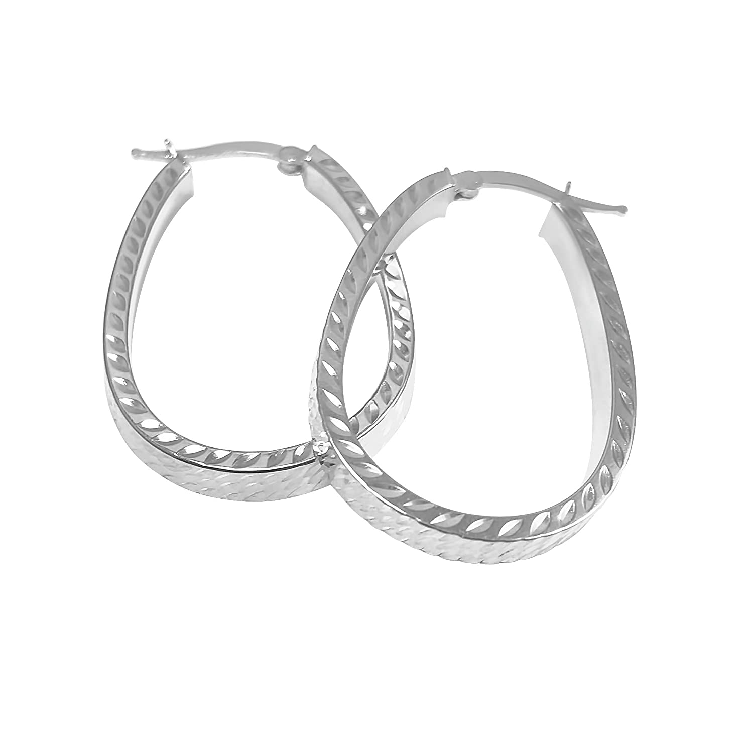 Sterling Silver High Polished Italian Design Oval Click-Top Hoop Earrings