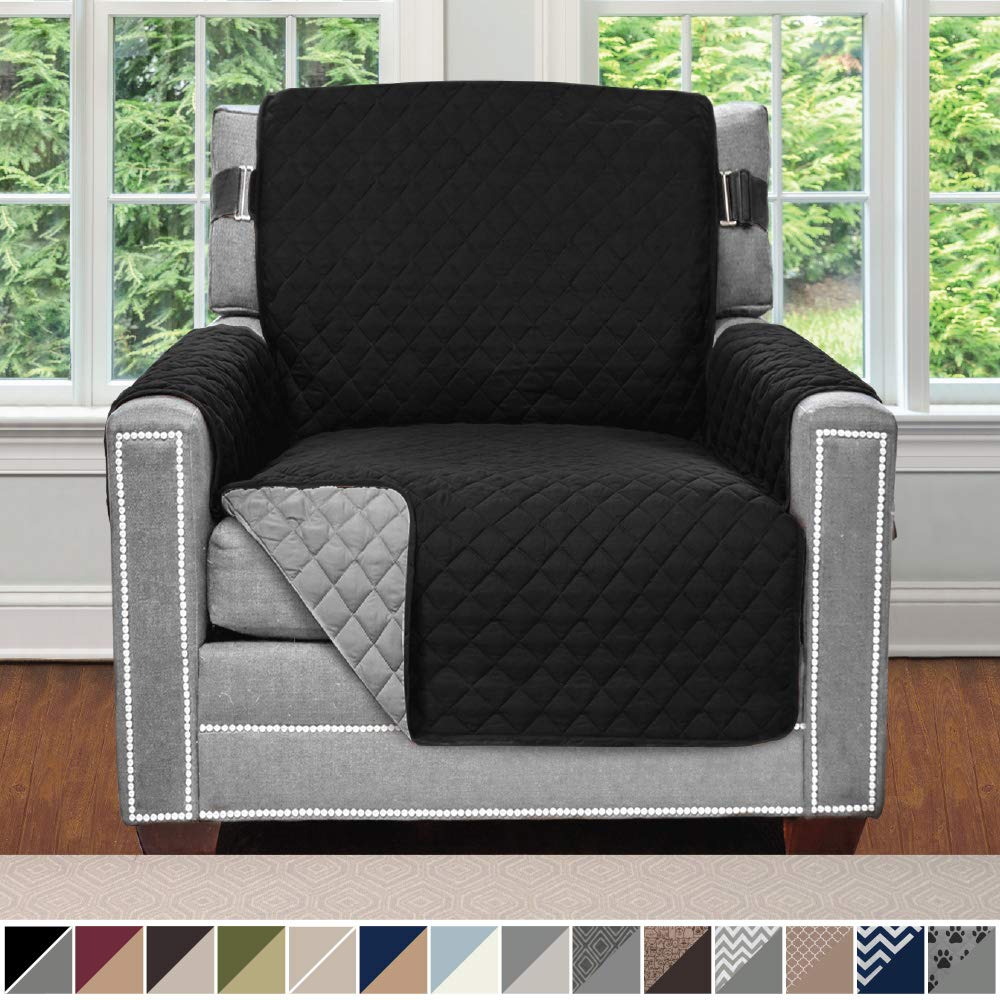Sofa Shield Original Patent Pending Reversible Chair Slipcover, 2 Inch Strap Hook, Seat Width Up to 23 Inch Machine Washable Furniture Protector, Slip Cover Throw for Pets, Kids, Chair, Black Gray