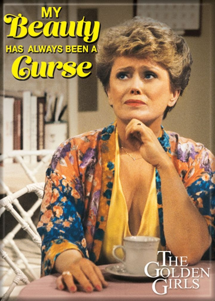 """Ata-Boy The Golden Girls 'My Beauty is a Curse' 2.5"""" x 3.5"""" Magnet for Refrigerators and Lockers"""