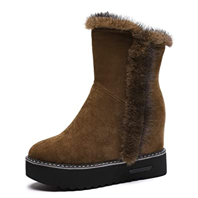 732b1c352521f Baronero Womens Faux Fur Ankle Boots for Women, Warm Hidden Wedge Platform Snow  Boot Army