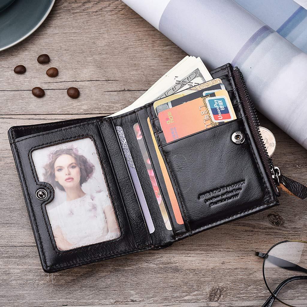 Zipper Wallet for Men Genuine Leather Slim Front Pocket Money Clip Wallets Card Holder Clutch Bag Handbag Black