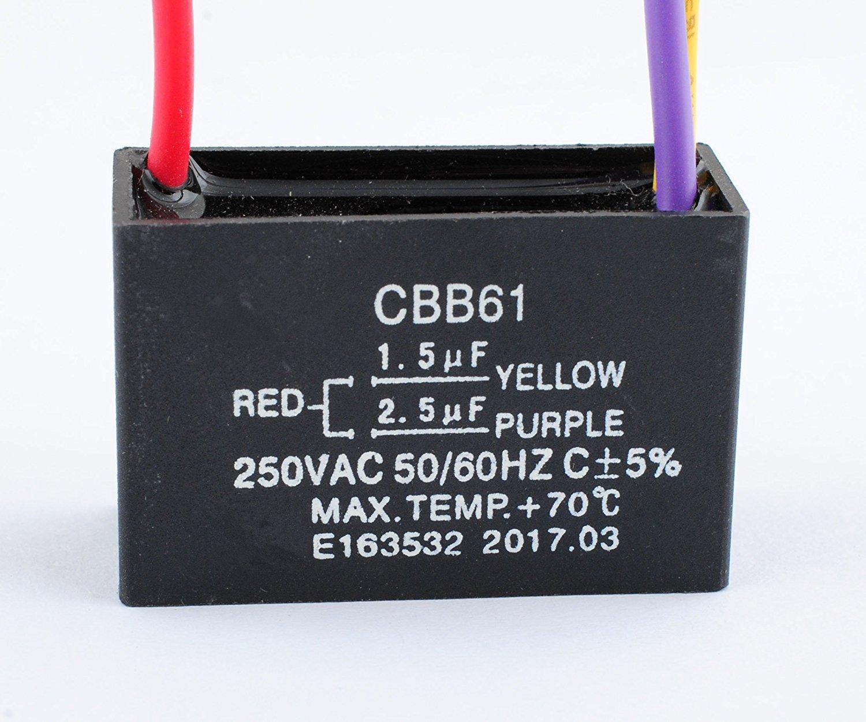 Podoy CBB61 Ceiling Fan Capacitor for New TECH 1.5uf 2.5uf 250V AC ...
