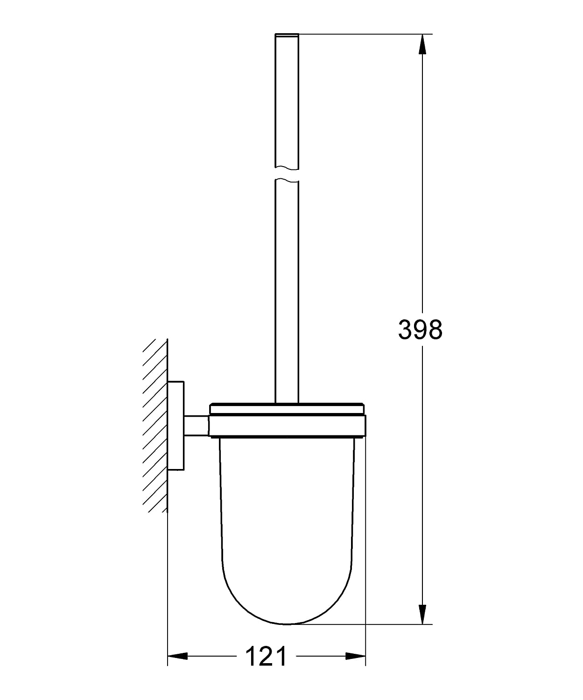 GROHE Essentials Cube Bad-Accessoires -Toilettenb/ürstengarnitur Material: Glas // Metall 40513001 chrom