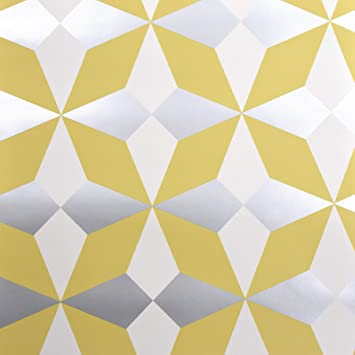 Geometric Wallpaper Yellow White Silver Metallic Shimmer Modern Fine Decor Nova