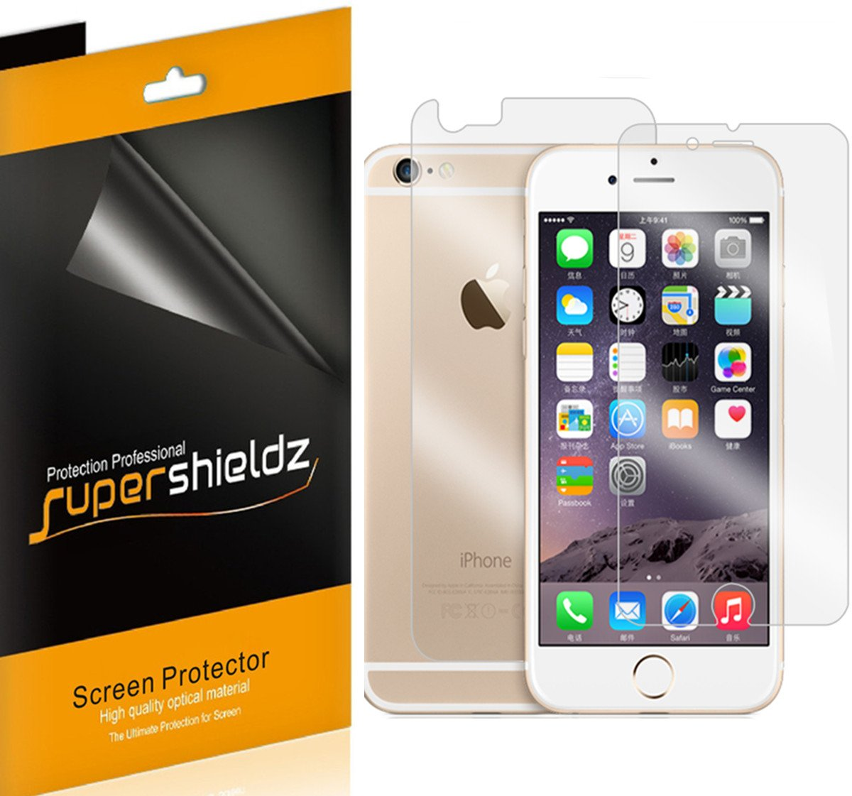 huge discount 11dcd afe5a Supershieldz for Apple iPhone 6 Plus / 6S Plus Front + Back Screen  Protector, [3 Front and 3 Back] Anti-Bubble High Definition Clear Shield  -Lifetime ...
