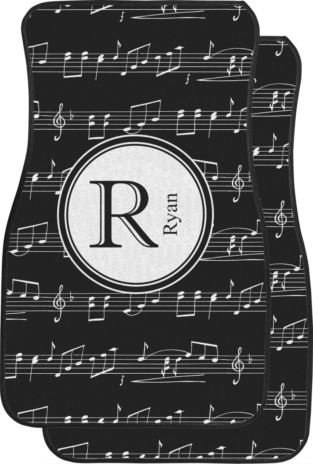 RNK Shops Musical Notes Car Floor Mats (Front Seat) (Personalized)