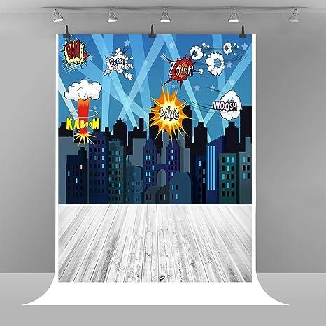Super Hero City Fotografía Fondo de Dibujo de Dibujos Animados de bebé Fondo de Vinilo de Madera Suelo niños cumpleaños Fiesta bebé mampara de la Ducha Foto Fondo Props 5 x 7FTE00T9061: