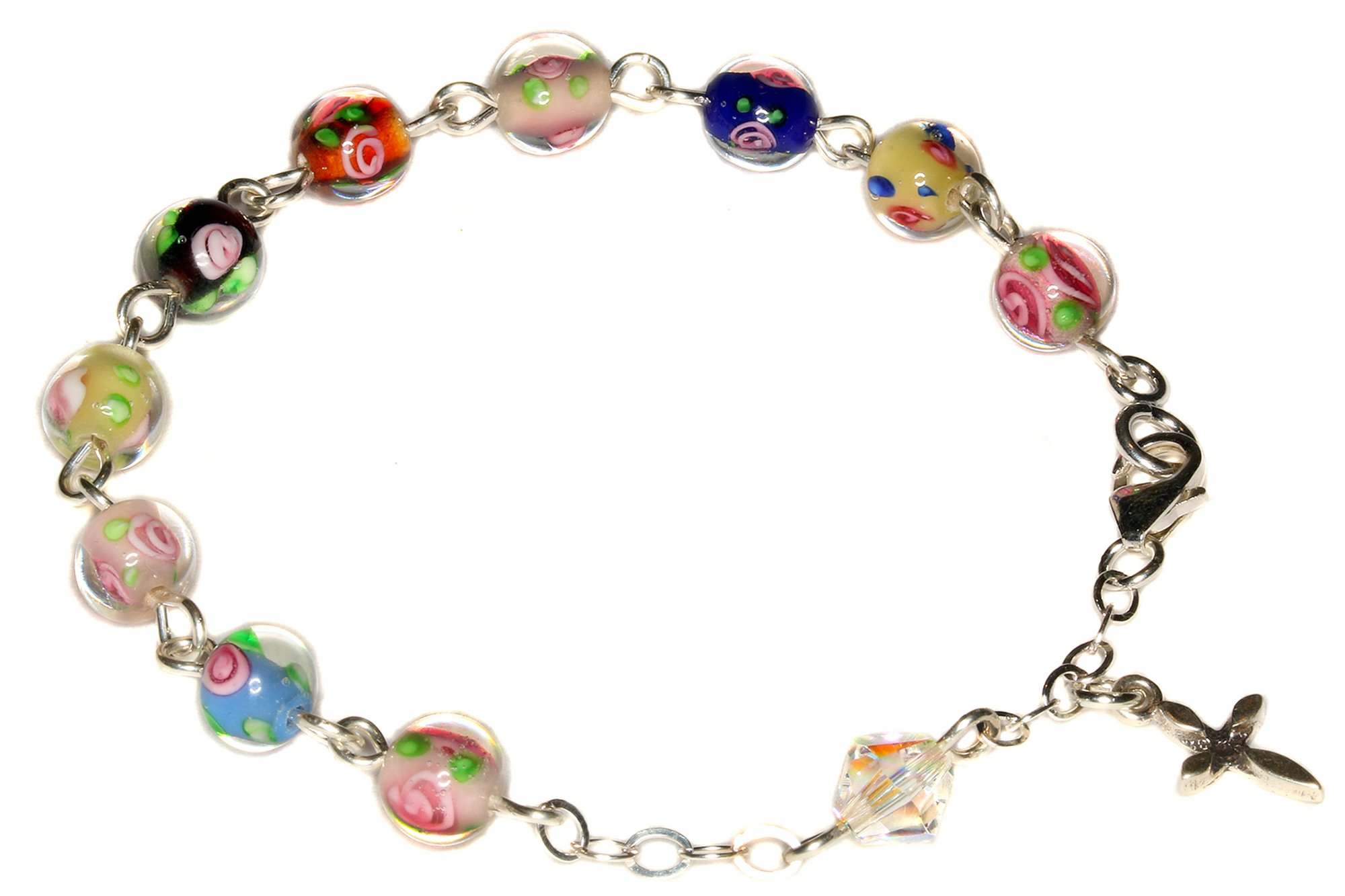 Child Rosary Bracelet made with Multi-colored Floral Glass & Swarovski Crystal Element (Communion & more)
