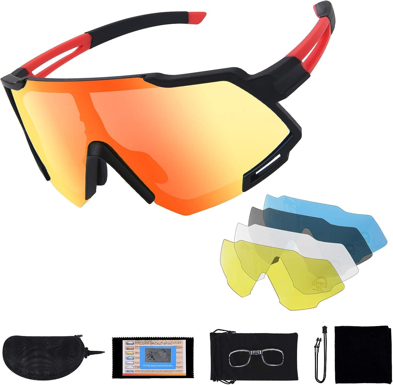 Flintronic Gafas de Sol Polarizadas, Gafas de Ciclismo con 5 Lentes Intercambiables UV400 Bicicleta Montaña, Gafas de Sol Deportivas,100% De Protección UV, Con Caja de Embalaje + Bufanda, Negro y rojo