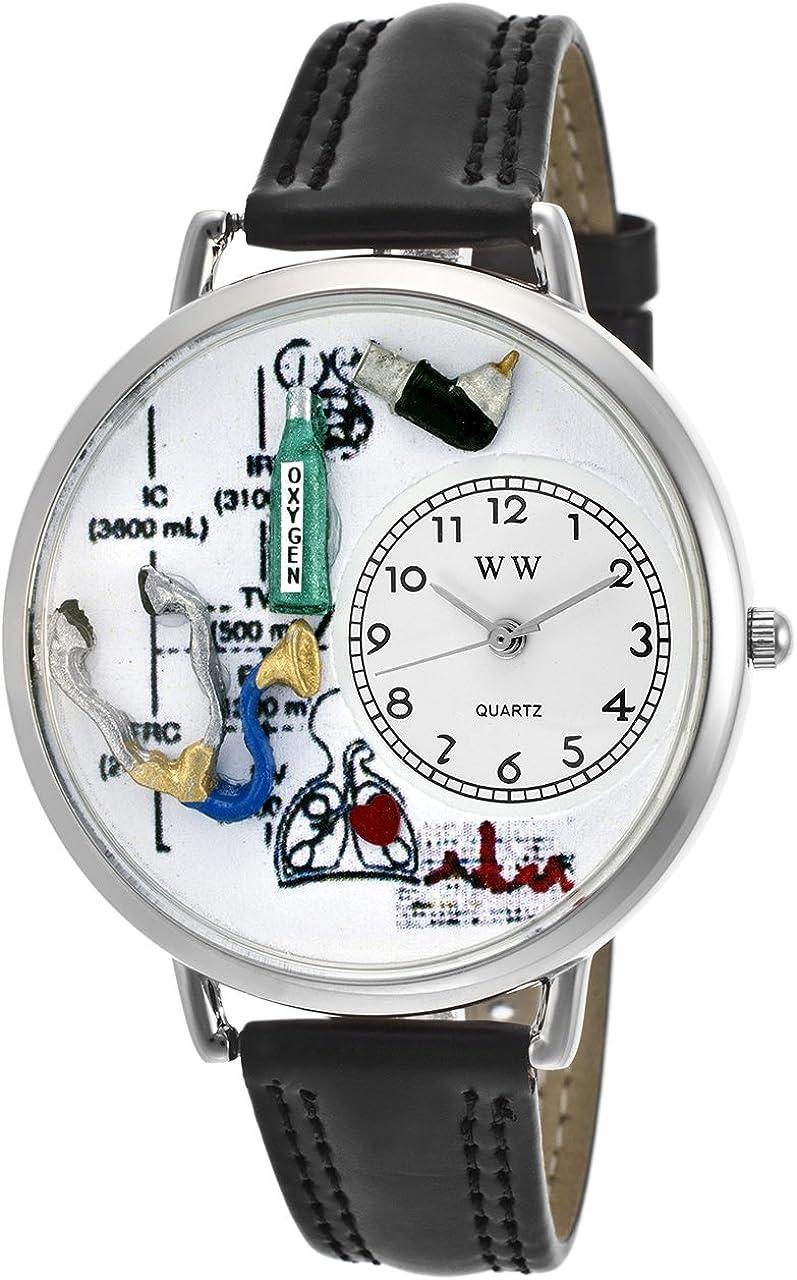 Whimsical Watches Unisex U0620028 Respiratory Therapist Black Skin Leather Watch