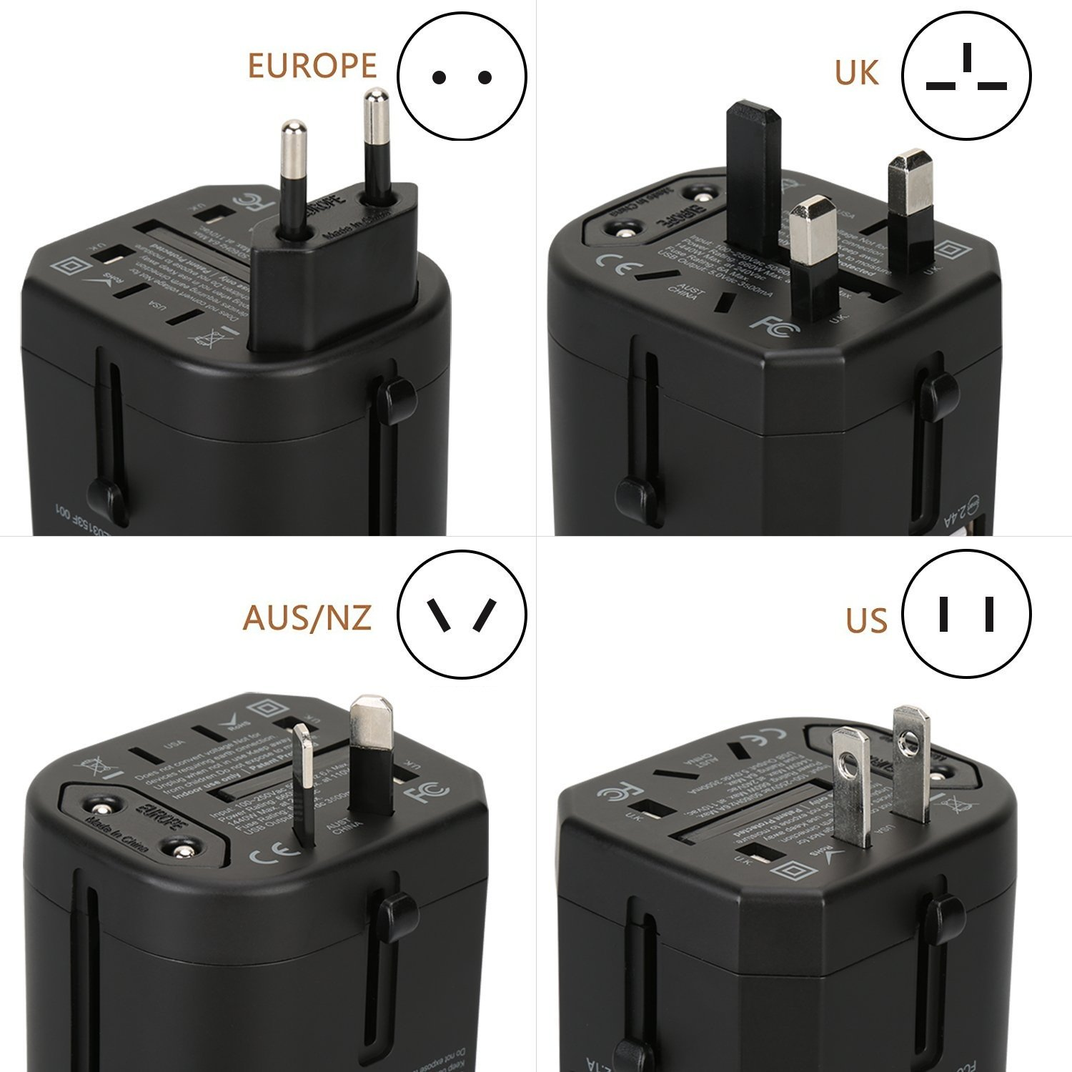 Universal USB Travel Power Adapter-Silanger All In One Wall Charger AC Power Plug Adapter For USA EU UK AUS Cell Phone Laptop Including Quad 3.5A Smart Power USB Charging Port (4X USB) by Silanger (Image #3)