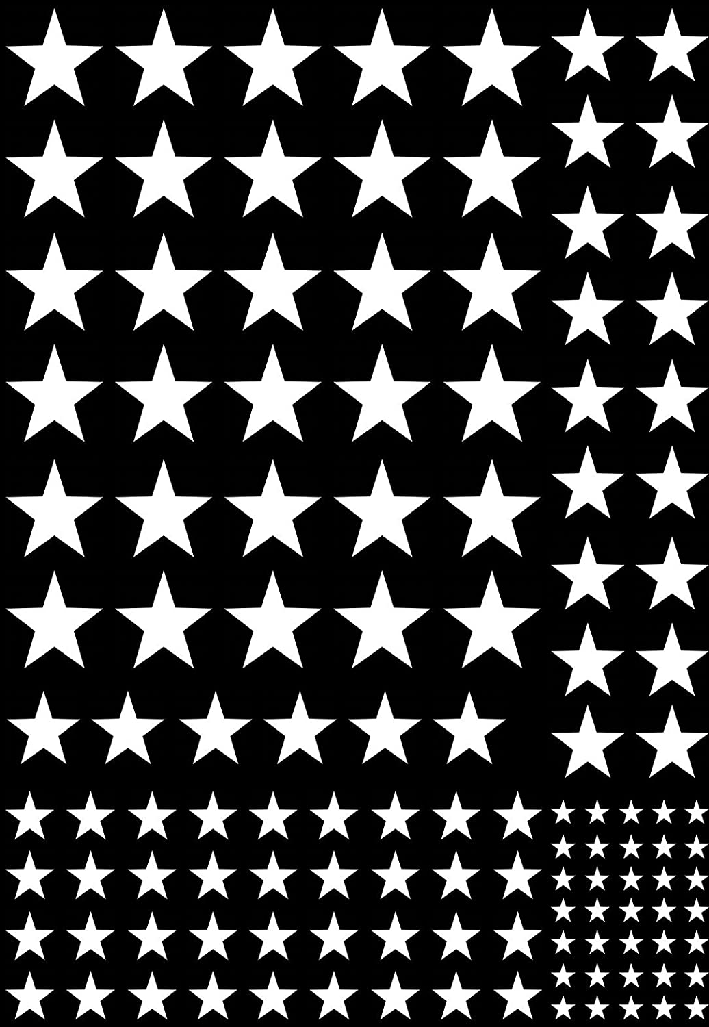 White 16CC706 Fused Glass Decals Must be kiln Fired Stars 1//8 to 1//2