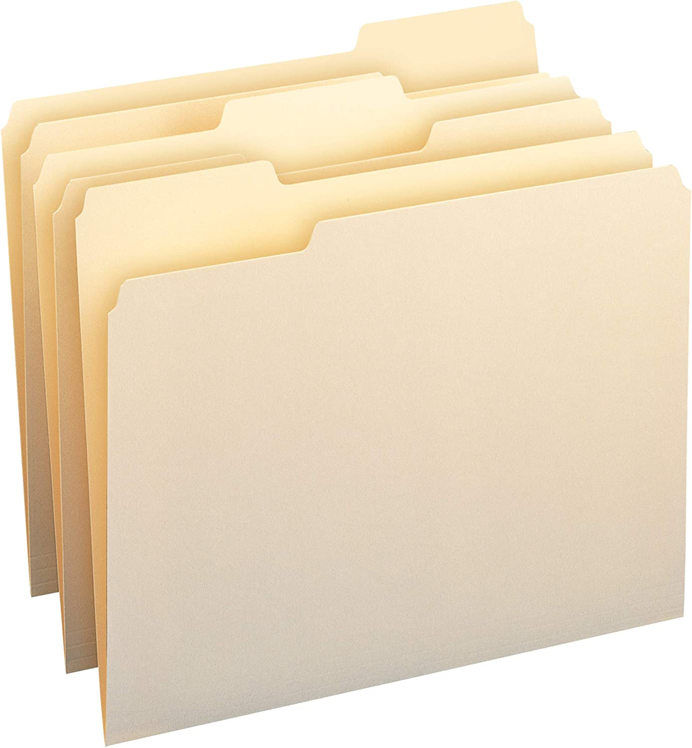 Basics 1/3-Cut Tab, Assorted Positions File Folders, Letter Size, Manila - Pack of 100 : Office Products