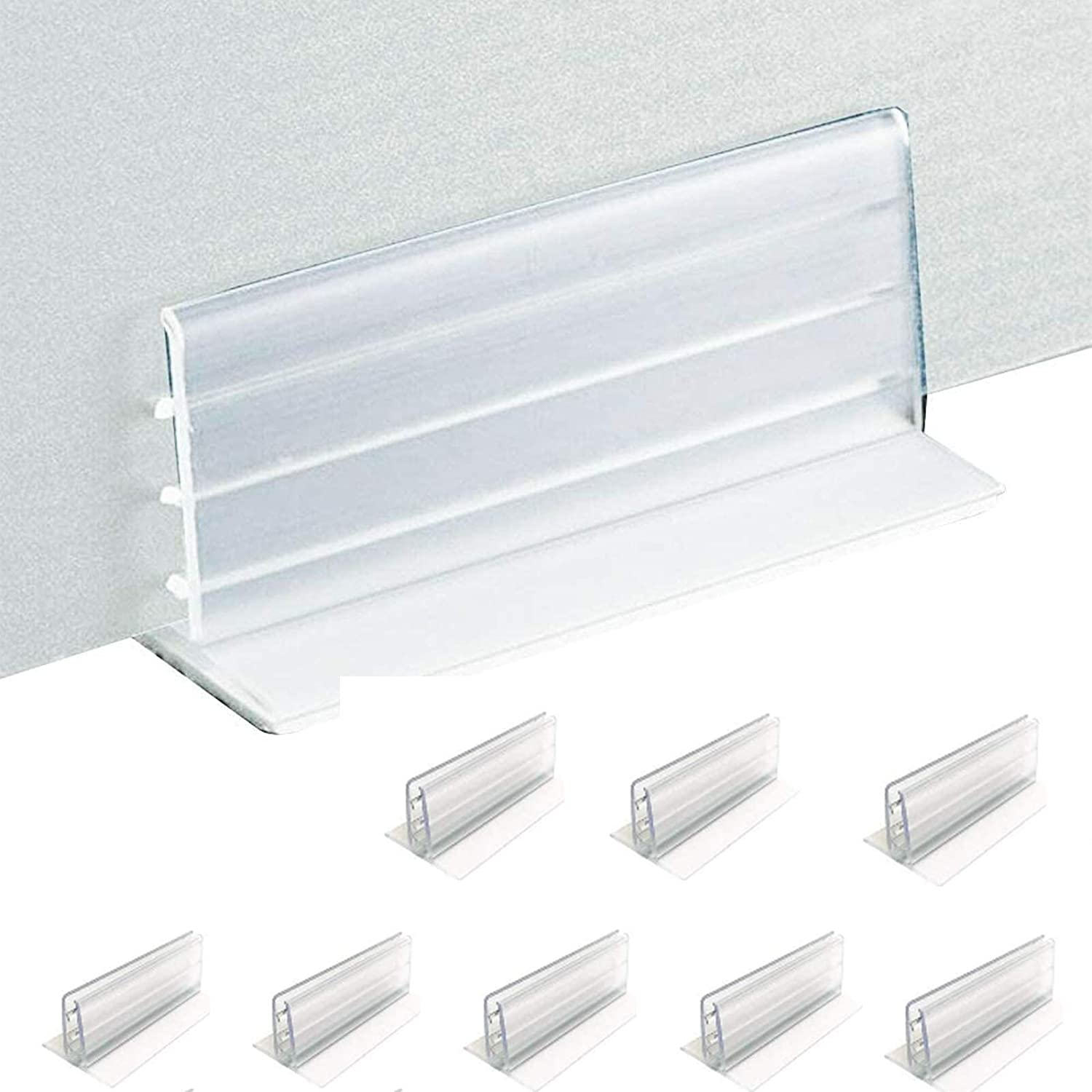 """8/16 Pcs Adhesive Sneeze Guard Holders, Office Desk Partition Brackets-Freestanding Personal Protection Shield Accessories to Fasten Acrylic Panels & Plexiglass Sheets 3/16"""" to 1/4"""" Thick (8 PCS)"""