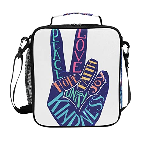 fae87569c709 Amazon.com: U LIFE Cute Summer Love Peace Hippie Hope Joy Lunch Bag ...