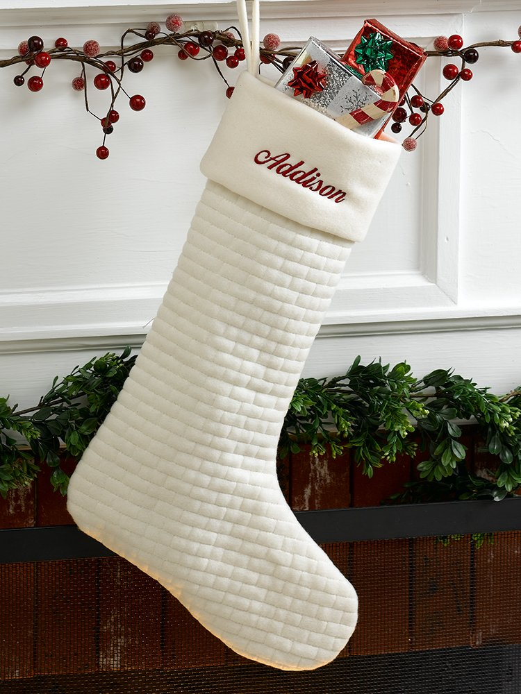 amazoncom ivory soft quilted cotton christmas stocking home kitchen - Quilted Christmas Stockings
