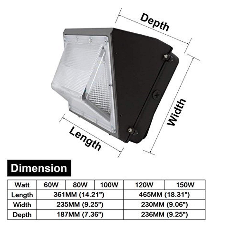 Commercial /& Industrial Outdoor Lighting CNSUNWAY LIGHTING 120W LED Wall Pack Light 5000K Daylight Glow,16000LM Super Birght Outdoor Waterproof Flood Light 650 Watt HPS//HID Replacement