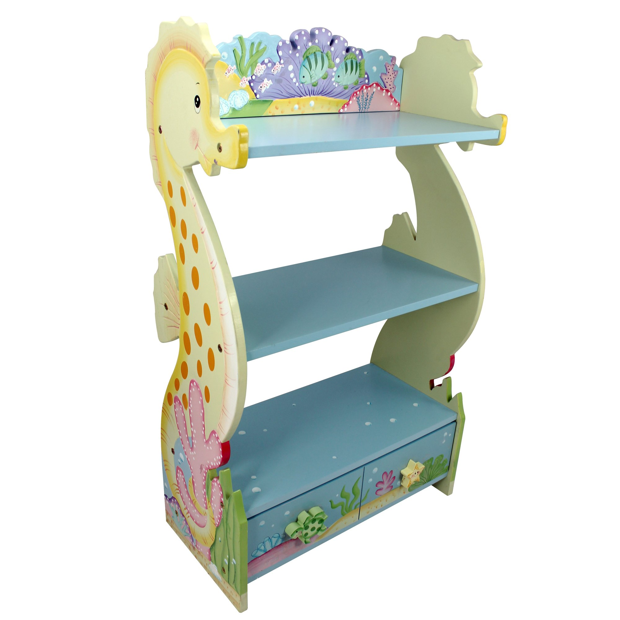 Fantasy Fields - Under the Sea Thematic Kids Wooden Bookcase with Storage | Imagination Inspiring Hand Crafted & Hand Painted Details   Non-Toxic, Lead Free Water-based Paint