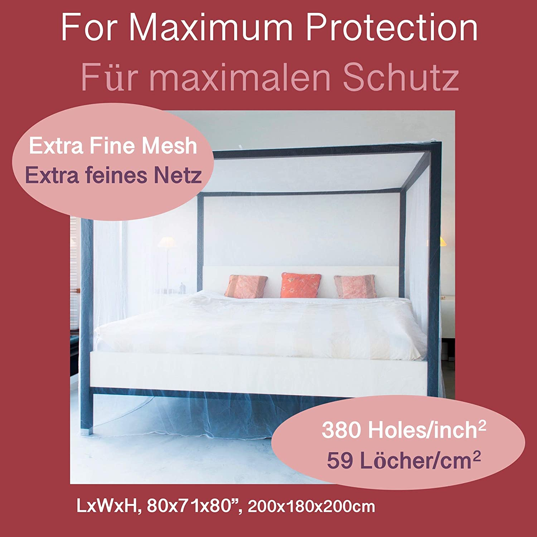 MOSQUITERA PREMIUM para cama doble, Red con DOS Aperturas, Kit completo de colocación, Bolsa de Viaje & e-Book, Cortina rectangular de malla, ...