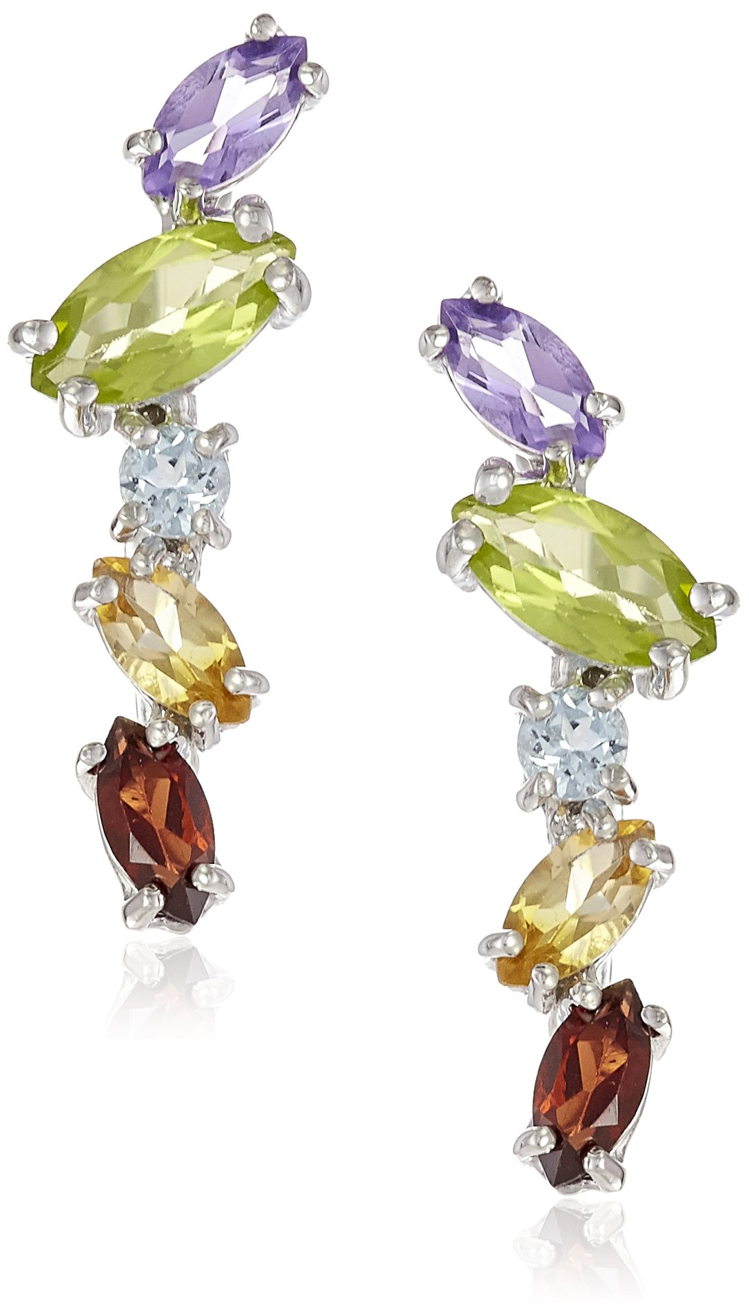 Sterling Silver Multi Gemstone Jacket Earring by Amazon Collection (Image #1)