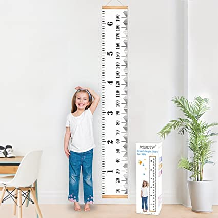 Black-white Baby Growth Chart Canvas Wall Hanging Measuring Rulers for Kids Boys Girls Room Decoration Nursery Removable Height and Growth Chart 7.9 x 79 inch