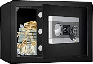 Fireproof and Waterproof Safe Cabinet Security Box, Digital Combination Lock Safe with Keypad LED Indicator, for Cash Money Jewelry (0.8 Cub)