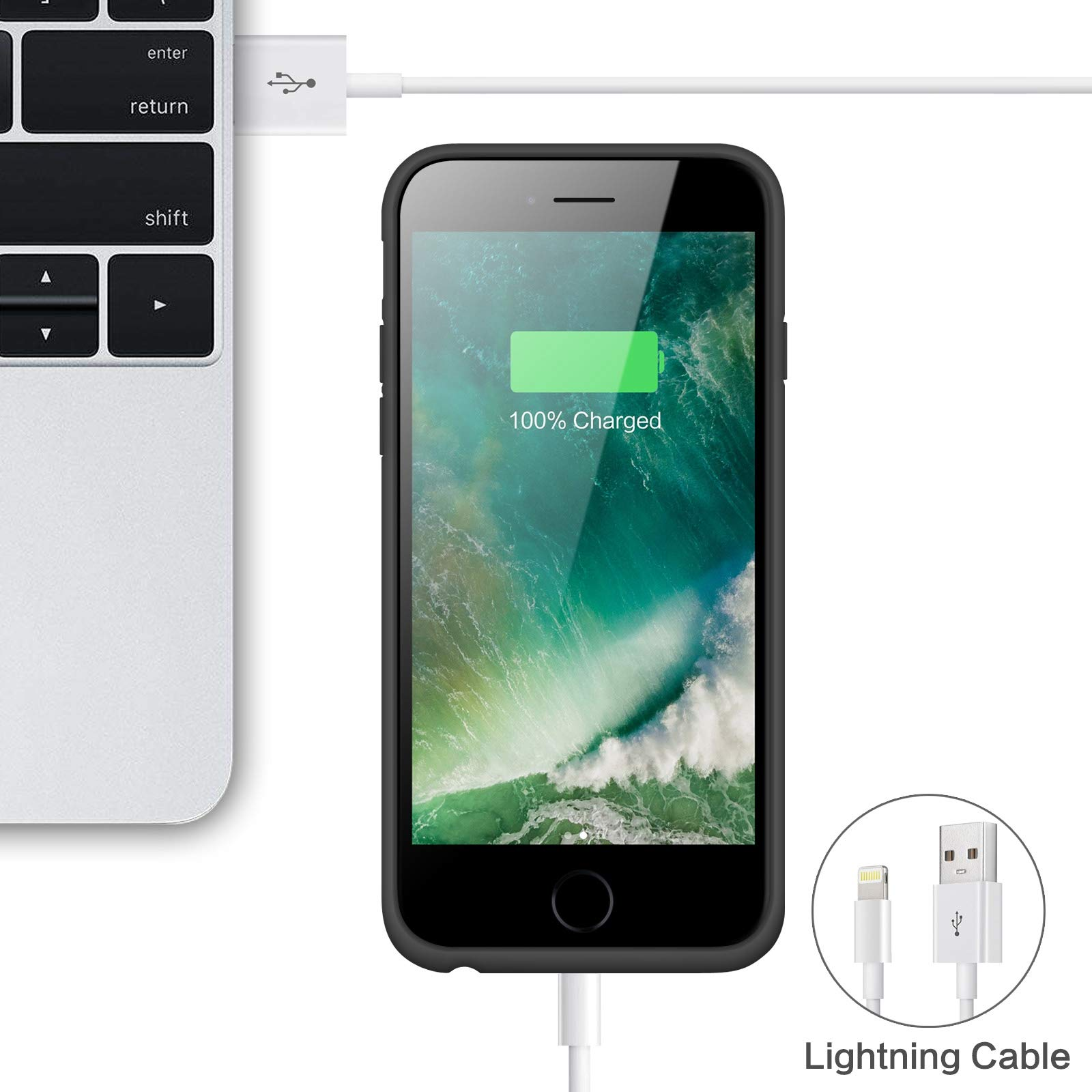 Battery case for iPhone 8/7, Xooparc [6000mah] Upgraded Charging Case Protective Portable Charger Case Rechargeable Extended Battery Pack for Apple iPhone 7/8(4.7') Backup Power Bank Cover (Black) by Xooparc (Image #7)
