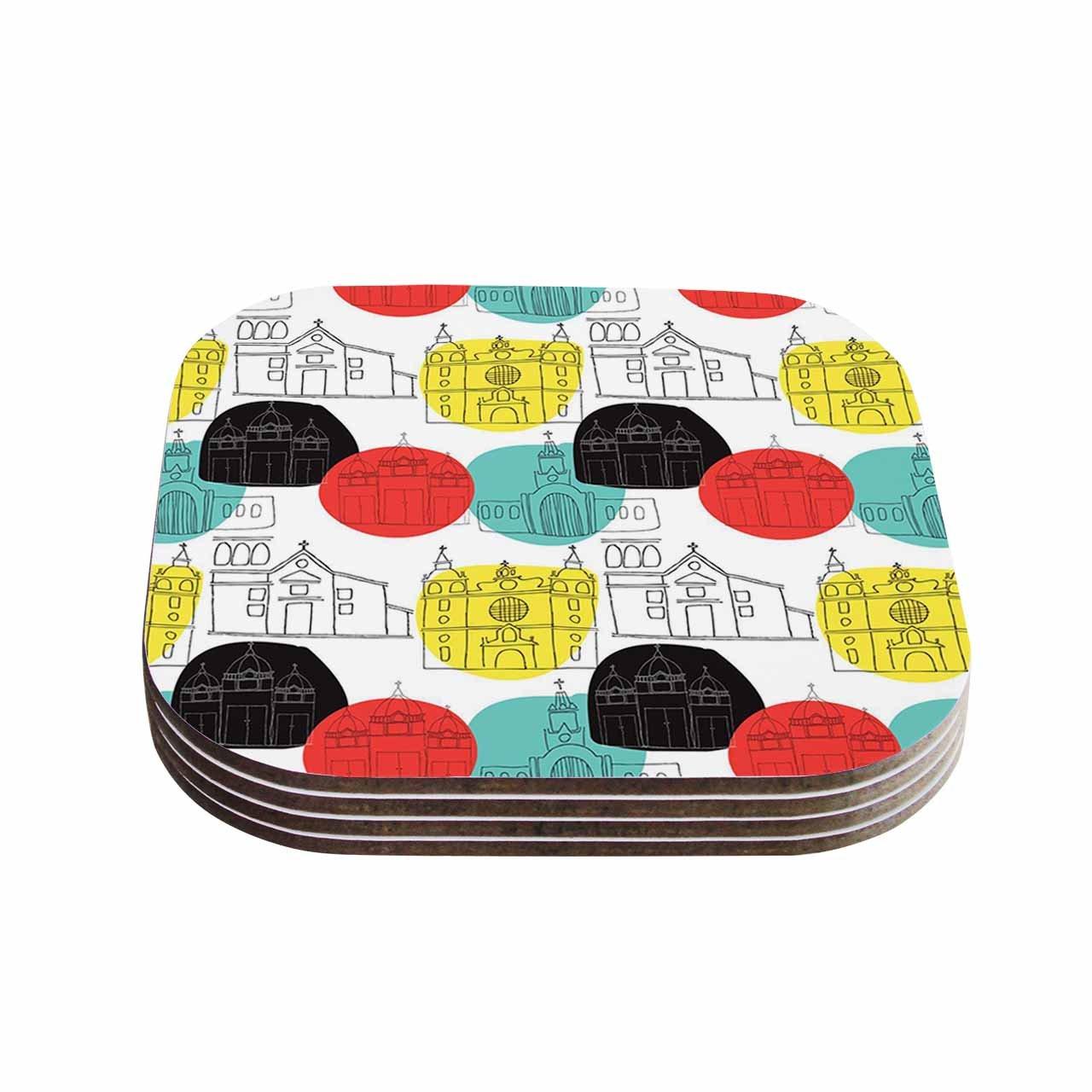 Multicolor Set of 4 KESS InHouse MaJoBVCartagena Churches Teal Red Polkadot Coasters 4 x 4