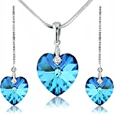 Ocean Blue Heart Set with Long Drop Earrings - Silver Tone - Swarovski Crystal Elements - Gift for Her.